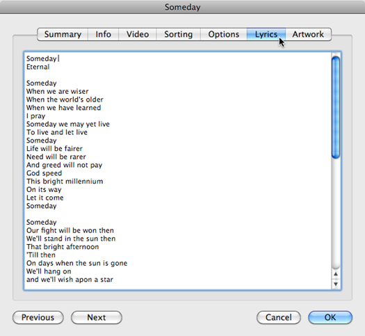 Adding lyrics to an iTunes music file through the Lyrics tab
