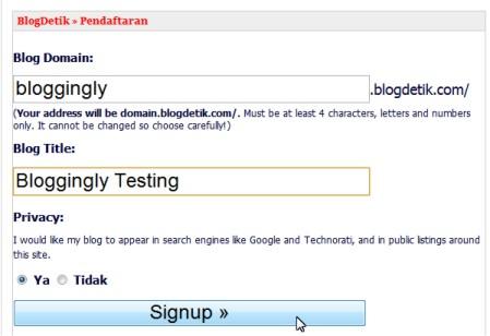 Isi domain dan judul blog anda