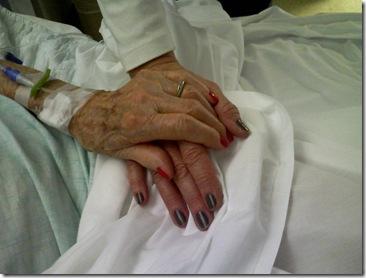 Grandma's hand on mine 1-19-2011