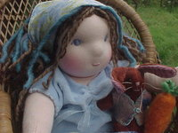 """Rachel and Her Bunny, 13 1/2"""" doll, weighted, shoes"""