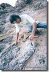 fóssil de dino na SP-294, serra de Duartina - 2001
