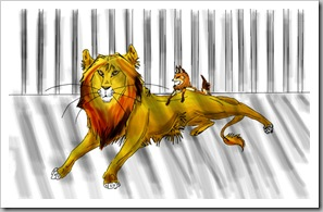 В клетке лев и собачка