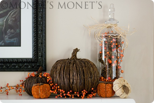 Mantel with pumpkins 2 blog
