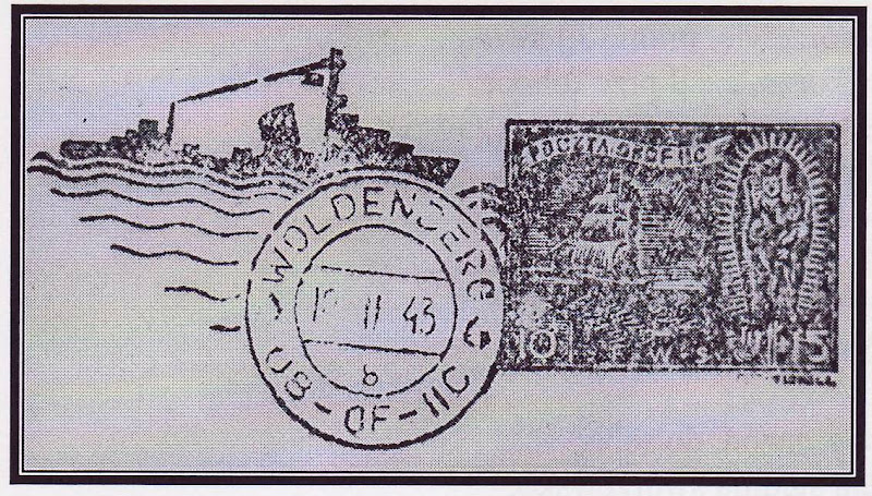 Znaczek poczty obozowej z podobizną figury Matki Boskiej Swarzewskiej, został wykonany z okazji święta Marynarki Wojennej 10 lutego 1943r. w Oflagu II C. Woldenberg.