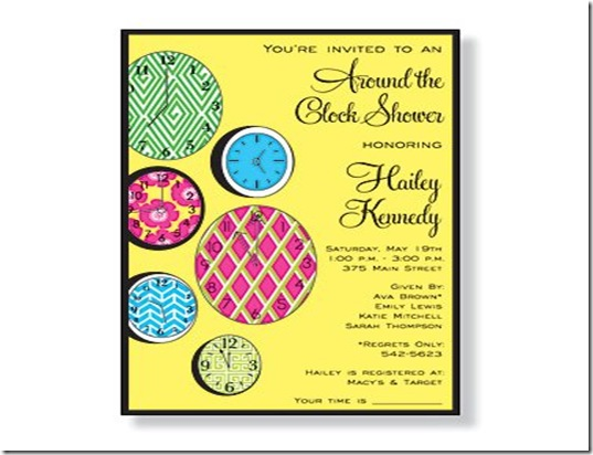 Around the clock Bridal Invite 3