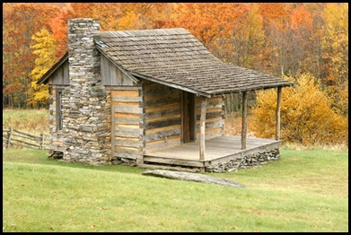 log-cabin-surrounded-by-fall-colors-in-grayson-highlands-state-park-virginia-va235