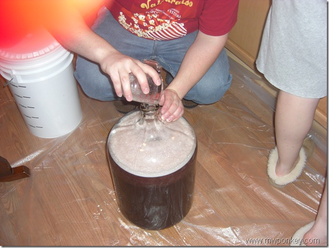 Adding the dry yeast mixture