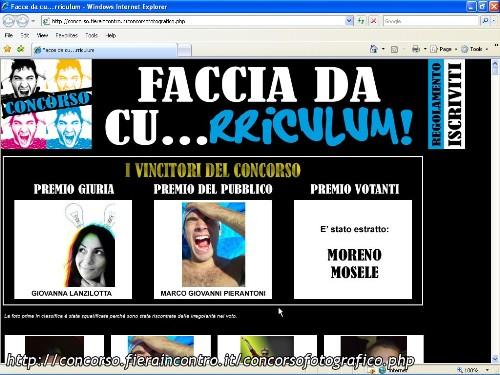 la homepage del concorso faccia da cu...rriculum