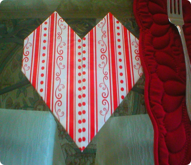 Valentines Day napkin folded