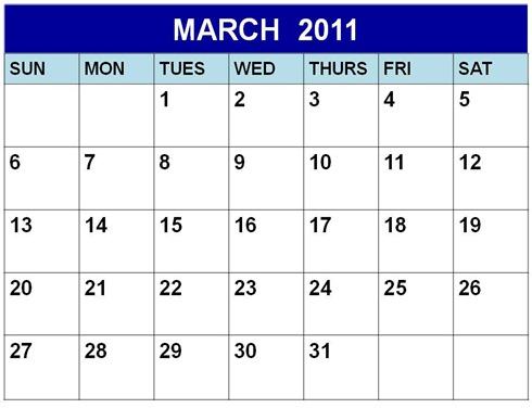 A3 Blank March 2011 Calendar Printable