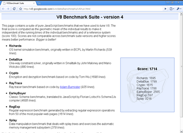 V8 Benchmark Suite - version 4 on Google chrome 2.0.172.28