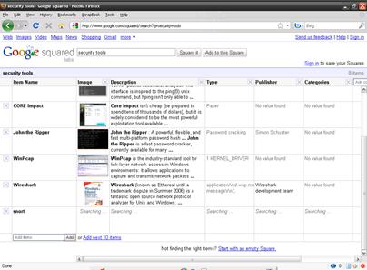 Google Squared : adding new item snort