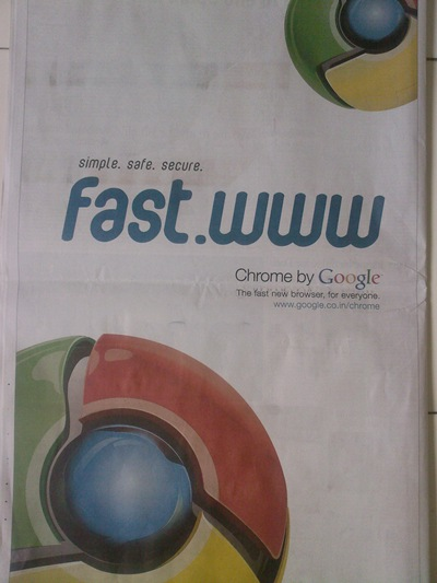 Google Chrome Ad in Times Of India