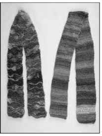 Garter stitch scarves feature elongated stitches.