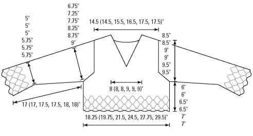 The schematic of the lacy V-neck top.