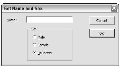 Executing the GetData procedure displays the dialog box.