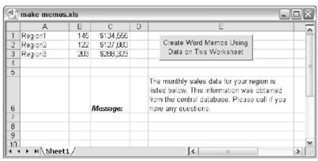 Word automatically generates three memos based on this Excel data.