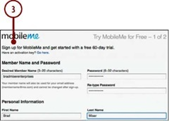 Follow the onscreen instructions to obtain your MobileMe account.