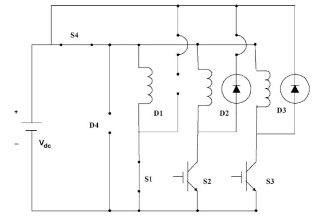 Equivalent circuit when S1 and S4 are on.