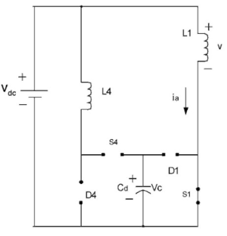 Equivalent circuit when S1 is on and other switches and diodes are off.