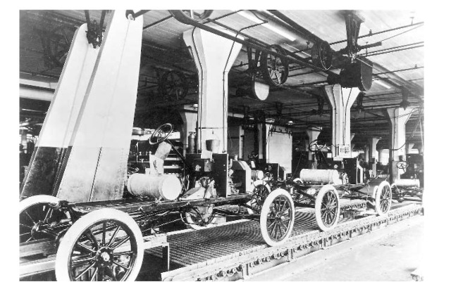 Model T Assembly Line In The Ford Motor Companys Highland Park Factory
