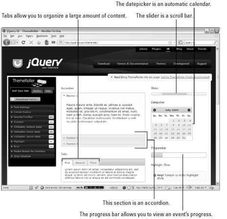 ThemeRoller lets you look over many jQuery UI elements and modify their look.
