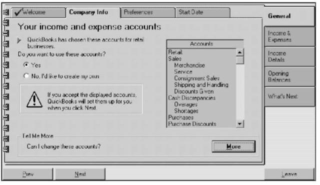 Accepting the QuickBooks chart of accounts.