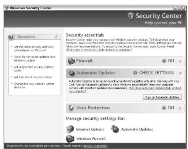 The Windows Security Center.