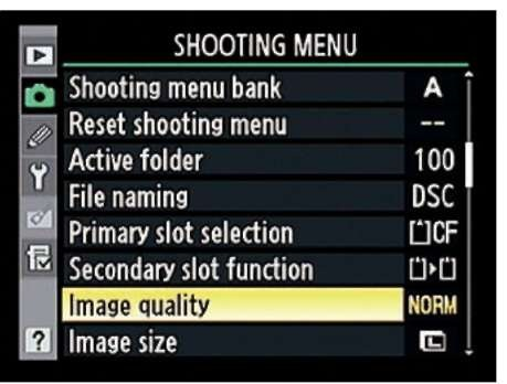 The Shooting menu enables you to select the Quality setting plus a few related options.