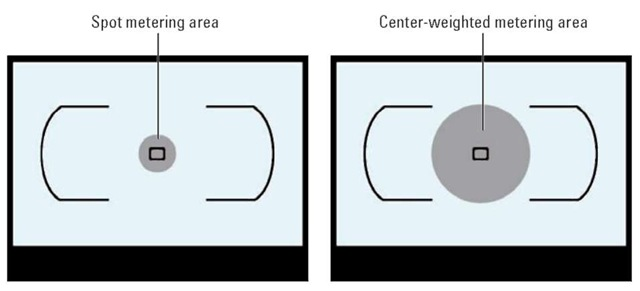 Spot metering bases exposure on a single focus point; center-weighted metering gives priority to a larger area at the center of the frame.
