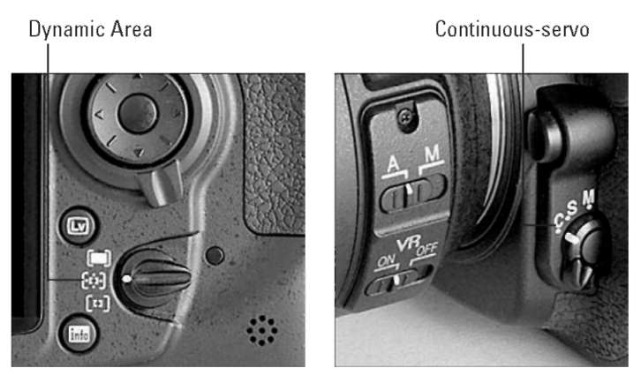 For moving subjects, combine continuous-servo Focus mode with Dynamic Area mode.