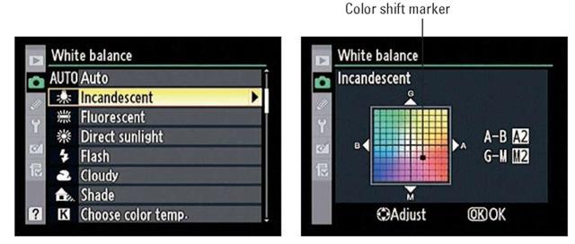 You can fine-tune the White Balance settings via the Shooting menu.