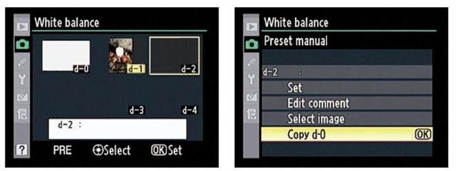 To create an additional direct-measurement preset, first copy the existing one from d-0 to another slot (d1-d4).