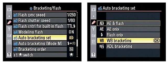 Your first step is to set the Auto Bracketing Set option to WB Bracketing.
