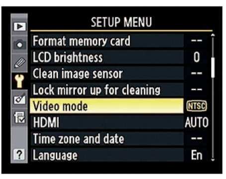 The options related to television playback live on the Setup menu.