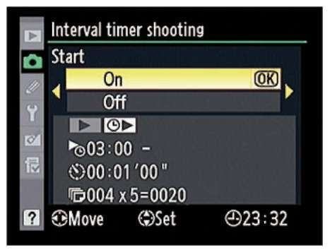 Highlight On and press OK to finalize the Interval Timing setup.