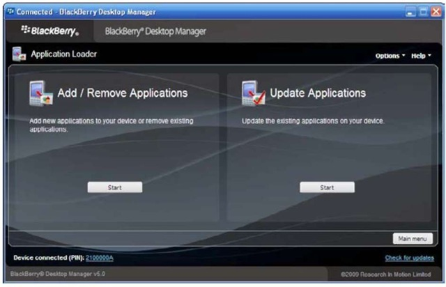 The Application Loader screen.