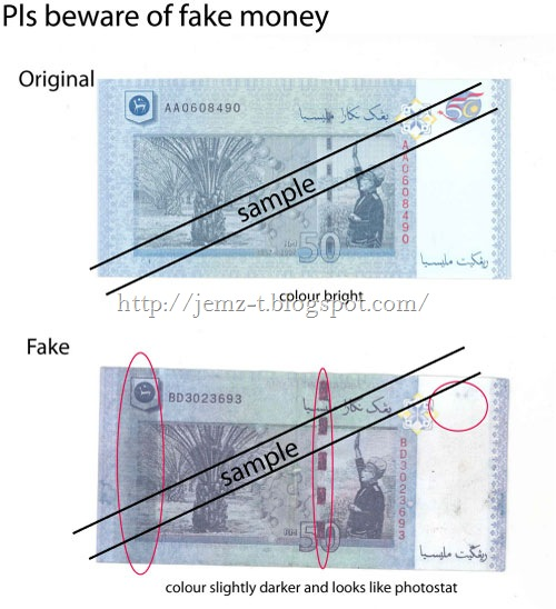 BEWARE OF FAKE RM 50 BILLS