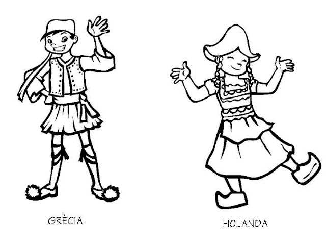 Outfit of Greece and the Netherlands, free coloring pages