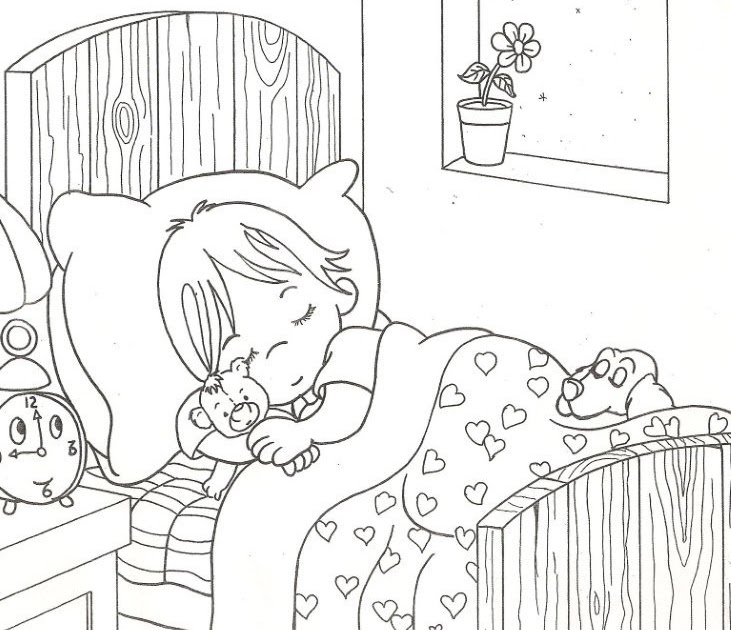 Sleeping child free coloring pages