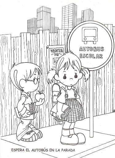 Children waiting for the bus - free coloring pages