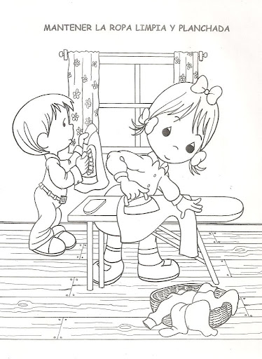Children doing household chores free coloring pages