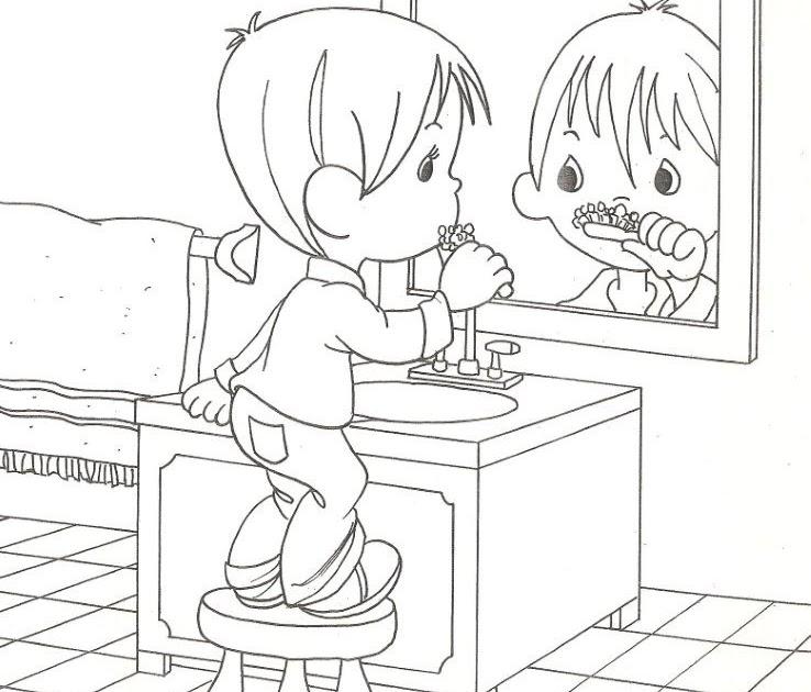 Pinto Dibujos: Niño lavándose o cepillándose los dientes ...