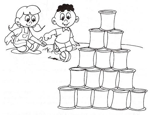 Boliche con latas para colorear
