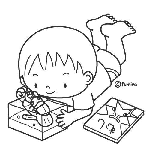 Pinto Dibujos: Niño jugando con hormigas para colorear
