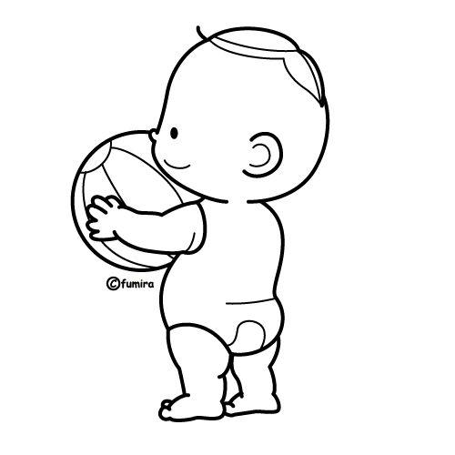Bebé con pelota para colorear