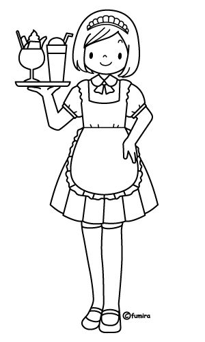 waitress coloring pages - photo#1