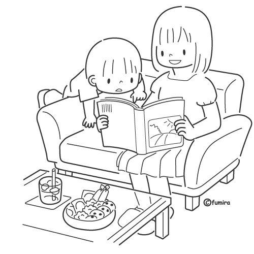 Pinto Dibujos: Mamá leyendo con su hijo para colorear