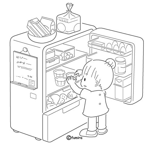 opening the refrigerator  free coloring pages