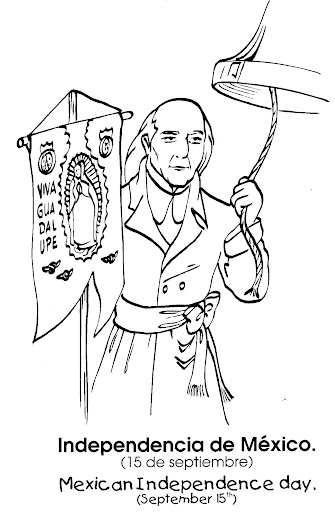 Mexican Independence day - Miguel Hidalgo free coloring pages